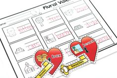 Plural Valentines: The students will identify the correct plural ending by matching the correct key to each heart.