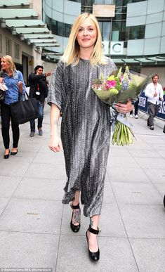 'Thank you thank you': Pregnant Fearne Cotton beamed as she left the BBC studios in London...