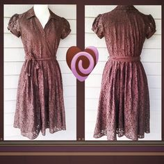 "Lovely Chocolate Brown Lace Dress NWOT Adorable lace dress with matching brown liner, button front, self belt, and poofy cap sleeves that also button. The color is a rich milk chocolate which incidentally would be a gorgeous and unique choice for Valentines Day!  Bust: 18"" Waist: 14"" Length: 43"" *sweater is listed separately and is not included with the dress+ Apt. 9 Dresses"