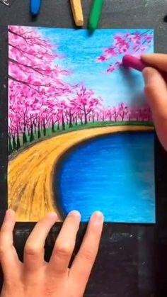 Art Drawings Beautiful, Art Drawings For Kids, Art Drawings Sketches Simple, Oil Pastel Drawings Easy, Oil Pastel Paintings, Crayon Painting, Soft Pastel Art, Art Painting Gallery, Diy Canvas Art