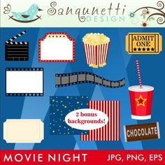 Time for a night at the movies! Grab your popcorn and candy, sit back and enjoy! This set comes with nine illustrations plus 2 bonus 8x8 mini papers.
