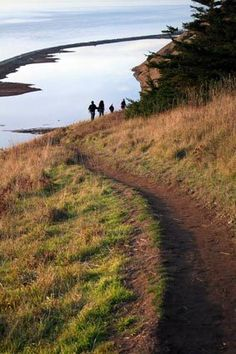 Hikers on a trail above Perego's Lake at Ebey's Landing on Whidbey Island get a dramatic view of the Strait of Juan de Fuca.