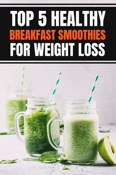 5 healthy morning breakfast smoothies for weight loss easy and fast and make great healthy meal replacements. Green smoothie ideas and recipes include healthy flat belly, high protein, and fat burning ingredients. #breakfastideas #weightloss Breakfast Smoothies For Weight Loss, Weight Loss Smoothies, Healthy Smoothies, Healthy Drinks, Smoothie Recipes, Lose Weight Naturally, How To Lose Weight Fast, Meal Replacements, Ginger Smoothie