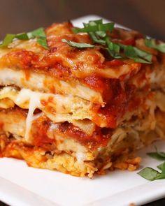 Chicken Parm Lasagna 3 chicken breasts 2 cups Italian bread crumbs 5 eggs 1 cup flour 24 ounces marinara sauce 15 ounces ricotta 8 lasagna noodles 2 cups mozzarella 2 cups parmesan Vegetable oil Basil