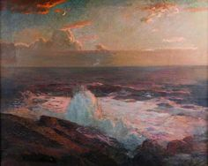Julius Olsson- Waves Breaking on the Shore. Oil on canvas.