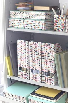 Say bye-bye to a boring workspace when you use HEJSAN playfully patterned pen holders, boxes and magazine files from IKEA to  brighten up any desk or table. And, this storage containers are a more sustainable choice because they are made from 80% recycled paper.