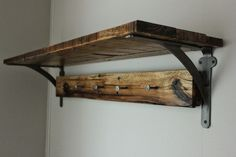 blue.lamb furnishings : Reclaimed Wood Wall Shelf + Vintage Railroad Date Nail Coat Rack - $250
