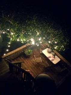 The back deck in the evening. Views out to The Bay, romance & heat lamp included!