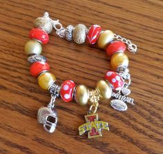 Iowa State Cyclones European Charm Bracelet - College, NCAA, Big 12 on Etsy, $21.99