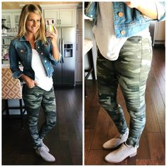 Fall Outfit Inspiration // What to Wear with Camo Skinny Jeans // How to Style Camo Jeggings // How to Style Camo // Non Sheer White Top with Jeggings and Denim Jacket // How to Style a Denim Jacket // What to Wear with a Denim Jacket // Comfortable Outfi Moda Outfits, Camo Outfits, Casual Outfits, Fashion Outfits, Fashion Fall, Camo Leggings Outfit, Army Pants Outfit, Jeggings Outfit, Camo Skinny Jeans