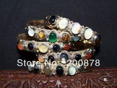BB-273  Tibetan brass inlaid Colorful stones Beads bangle,slim open cuff Girls Bracelet,mix order $8.69