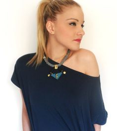 Statement choker Necklace, teal-blue wooden triangle,black climbing cord, grey cotton cord, studs, gold plated, fashion, trendy