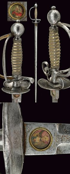 """armthearmour: """"Unfortunately I don't know where this is housed, but it's too weird for me not to post. A Smallsword with a folding guard and folding thumb ring, France, ca. Small Sword, Sword Design, Dagger Knife, Medieval Weapons, Swords And Daggers, Arm Armor, Cold Steel, Fantasy Weapons, Rare Antique"""