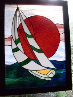 Sailboat stained glass circa 1983.