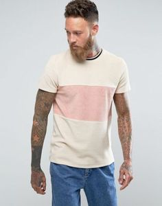 ASOS T-Shirt In Towelling With Cut And Sew Body Panel And Tipping In Beige