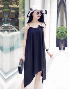 Đầm dây lai nhọn màu đen - B2229