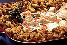 Comfort food gets even cozier when stuffing is involved. Add veggies, turkey and a creamy sauce and you have a one-dish turkey casserole that& perfect for any night of the week. Turkey Recipes, Chicken Recipes, Dinner Recipes, Yummy Recipes, Yummy Food, Turkey Casserole, Casserole Recipes, Kraft Recipes, Chicken