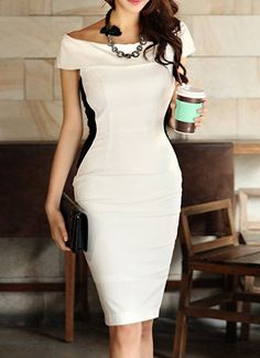 $18.27 Off-The-Shoulder Casual Boat Neck Color Block Packet Buttock Dress For Women