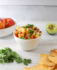 Peach Salsa | Poolside snacks, the perfect refreshing treat! | The Produce Moms Eat A Peach, Peach Salsa, Fruit Recipes, Healthy Recipes, Food Photo, Food Print, Easy Meals, Yummy Food, Stuffed Peppers