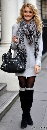 Grey and bold patterns - boots, sheer tights, jersey dress, scarf