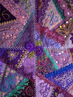 I ❤ crazy quilting & embroidery . . . beautiful, Upper Centre - Crazy patchwork wall quilt. 26 x 32 inches ~By marcie carr
