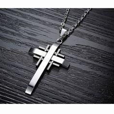 Cross Pendant Necklaces - 19.6'' Men's Stainless Steel Silver Black