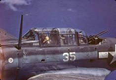 SBD Dauntless piloted by American Lt. George Glacken with his gunner Leo Boulanger, near New Guinea, early April, 1944.