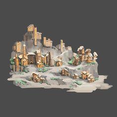 작은 마을 #art #artwork #architecture #design #illustration #photoshop #cs6 #그림 #fantasy #conceptart #landscape #game #gameart #perspective #배경원화 #지제이#painting #color #minimal