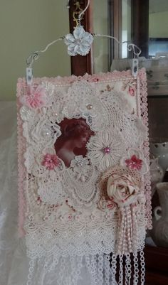 Shabby Chic Wall Hanging with vintage image.