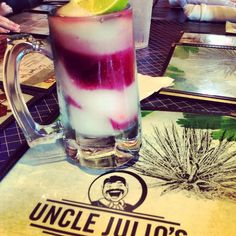 | The Swirl at Uncle Julio's. .a Margarita slushy swimming in Sangria.SOOOO yummy..my new favorite cocktail to make...use any good quality Sangria&Tequila but the secret ingredient is St Germain Elderflower liquer