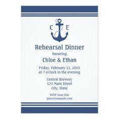 Blue Wedding Rehearsal Dinner Invitations Nautical Rehearsal Dinner Card
