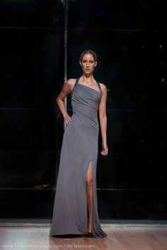 Kevin Hall Signature Collection Gray one Shoulder Gown.