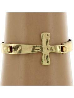 Hammered Goldtone Cross Hinge Bangle Bracelet