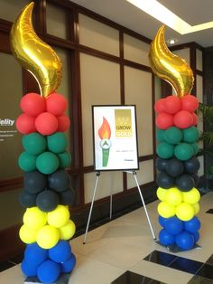 Olympic themed balloon columns.                    #olympic #balloon #column