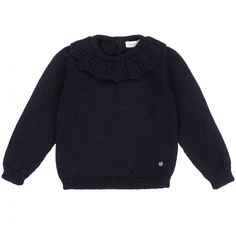Younger girls navy blue knitted sweater from Portuguese brand, Wedoble. Made in soft wool, this sweet jumper has a patterned collar, a logo charm on the front hem and branded button fastenings on the back. Kids Online, Girls Sweaters, Portuguese, Jumper, Navy Blue, Pullover, Wool, Button, Knitting