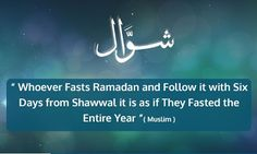 Significance of the six days of Shawwal   Abu Ayyub Al-Ansari relates that Allahs Messenger (peace be upon him) says: Whoever fasts the month of Ramadan and then follows it with six days of fasting in the month of Shawwal it will be as if he had fasted the year through. (Sahih Muslim 1163)  The month of Shawwal is singled out for the observance of extra fasts since this month follows immediately after Ramadan. The six days of voluntary fasting are to the obligatory fast of Ramadan what the…