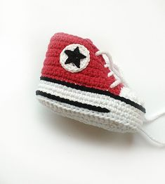 Red crochet shoes Crochet Converse shoes Crochet by KrissiCrochets
