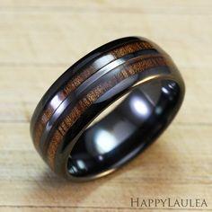 Black Ceramic Ring with Koa Wood Double Inlay 8mm by HappyLaulea, $58.00