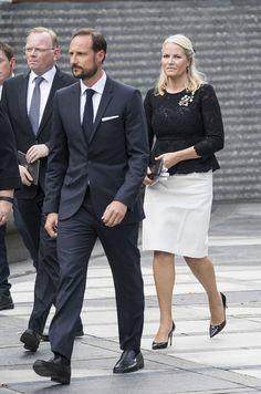 La princesse Mette-Marit et le prince Haakon de Norvège à Oslo, le 22 juillet 2016