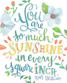 You are so much Sunshine in Every Square Inch - Walt Whitman Quote - Art Print by Makewells on Etsy https://www.etsy.com/listing/211744697/you-are-so-much-sunshine-in-every-square