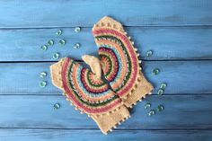 Azteca. Woolen knitted mittens