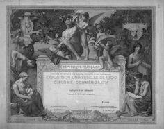 Diplôme de l'Exposition Universelle de 1900 Gravure d'Adrien Didier (1838 - ??) Plusieurs exemplaires variés dans le texte sont conservés dans différents musées de France. #tire-lait