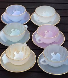 Vintage French Arcopal Tea Cup and Saucer Set. Beautiful Harlequin Opaque Iridescent Pastels w (With images) Tea Cup Set, Cup And Saucer Set, Mug Cakes, Tee Set, Bubble Tea, Tea Time, Dinnerware, Tea Party, Decoration