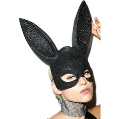Glitter Gettin' Busy Bunny Mask ($20) ❤ liked on Polyvore featuring costumes, leg avenue, bunny halloween costume, leg avenue halloween costumes, black bunny costume and bunny rabbit costume
