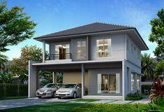บ้านใหม่ แถวบางนา 2 ล้านบาท 2 Storey House Design, Double Storey House, White Exterior Houses, Exterior House Colors, Modern Bungalow, Bungalow House Plans, Flat Roof House, Facade House, Minimalist House Design