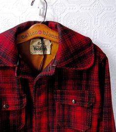 Woolrich Plaid Coat, Red and Black Hunting Jacket, Lumberjack, Wool, size 36, Vintage 1950's