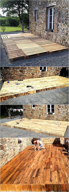 Terrasse on the patio? Have a look at the patio terrace plan and copy it if you feel this will make your area look awesome and the family members will love to spend time there. This will not take many days in completion. Woodworking Projects Diy, Diy Pallet Projects, Outdoor Projects, Wood Projects, Backyard Projects, Woodworking Bench, Woodworking Classes, Craft Projects, Backyard Patio