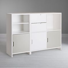 Buy House by John Lewis Oxford Shelving Unit with 3 Doors and 2 Drawers, Smoke / White Online at johnlewis.com