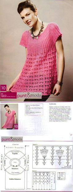 era Yesss, I can do that and a variety of others from this pattern. Crochet Tunic, Crochet Tops, Love Crochet, Crochet Clothes, Crochet Diagram, Crochet Patterns, Crochet Fashion, Clothing Patterns, Knitting