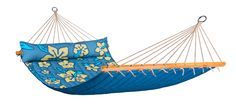La Siesta Hawaii Double Hammock with spreader bars - Hibiscus/Pacific/Palm/Coconut
